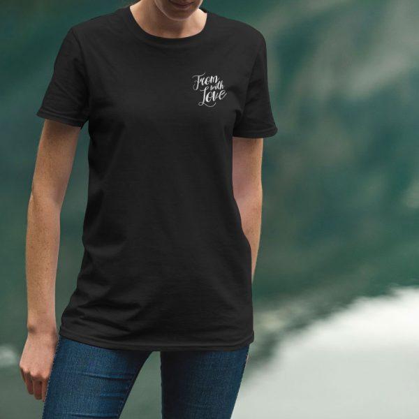 Черная женская футболка Маленький логотип From with Love
