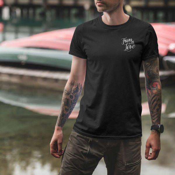 Черная мужская футболка Маленький логотип From with Love