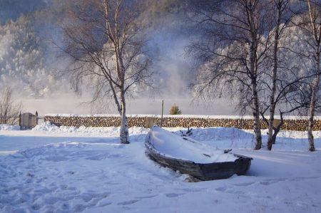 Angara river, Siberia, Russia. 21.12.2013 2