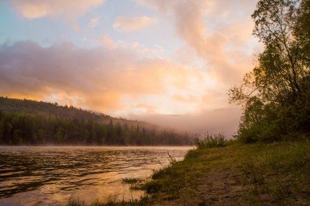 Sunrise on Irkut river, Russia. 3.06.2016